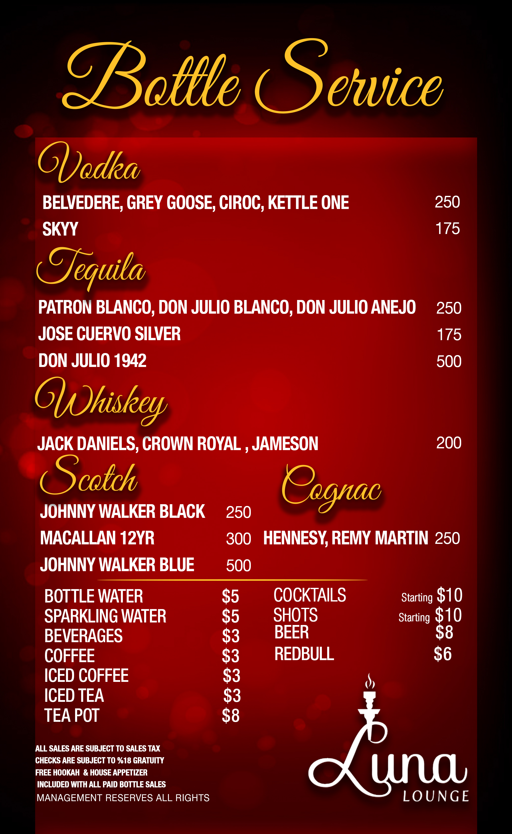 bottle service menu late night menu